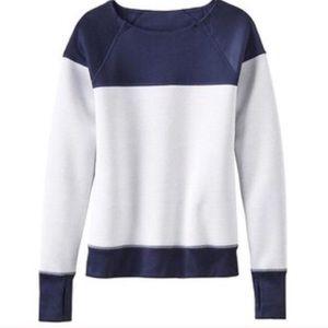 Athleta Colorblock Navy + White Fuse Sweatshirt